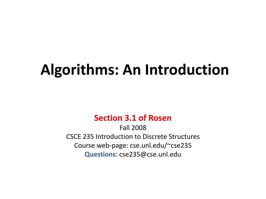 algorithms an introduction l.