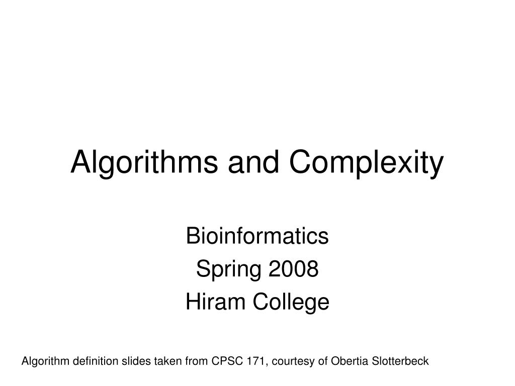 algorithms and complexity l.
