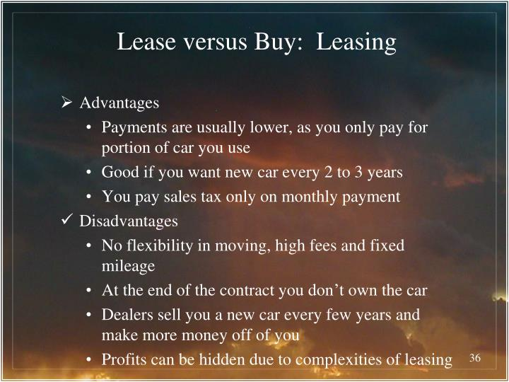 lease versus purchase essay A capital lease is basically a purchase, and all you are doing is financing the purchase through a leasing company at the end of the lease, you have fully paid for the item, and there is either nothing due at the end, or some nominal amount, like a dollar.
