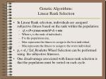 genetic algorithms linear rank selection