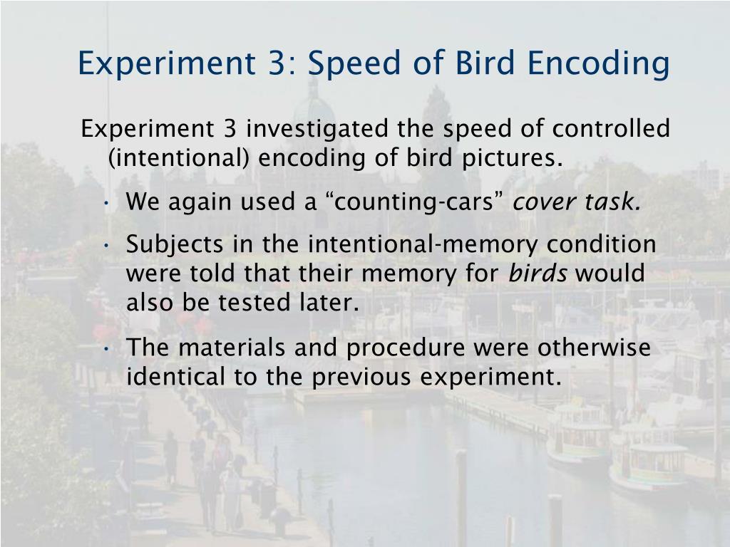 Experiment 3: Speed of Bird Encoding