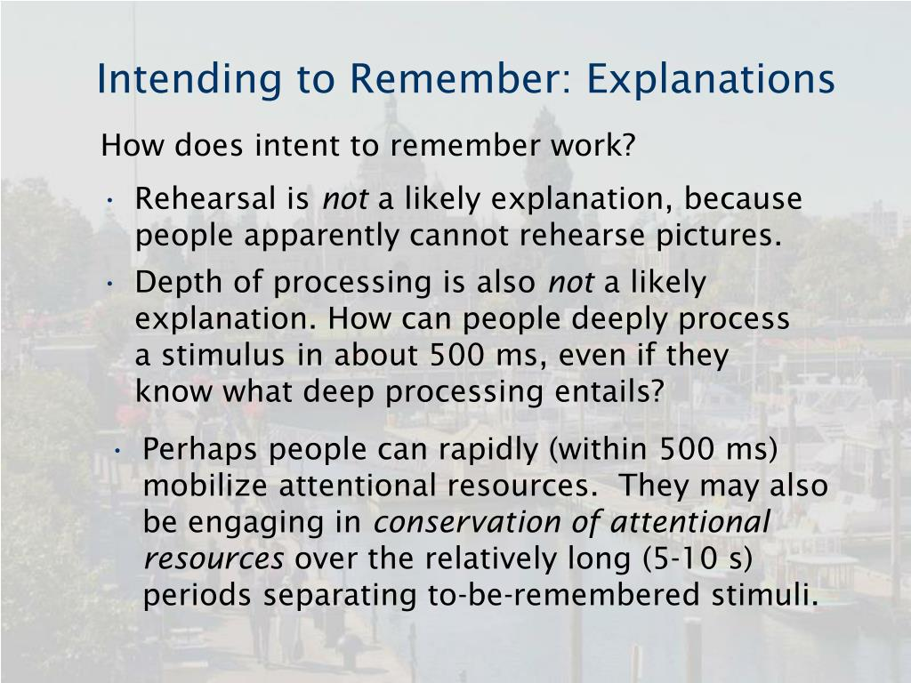 Intending to Remember: Explanations
