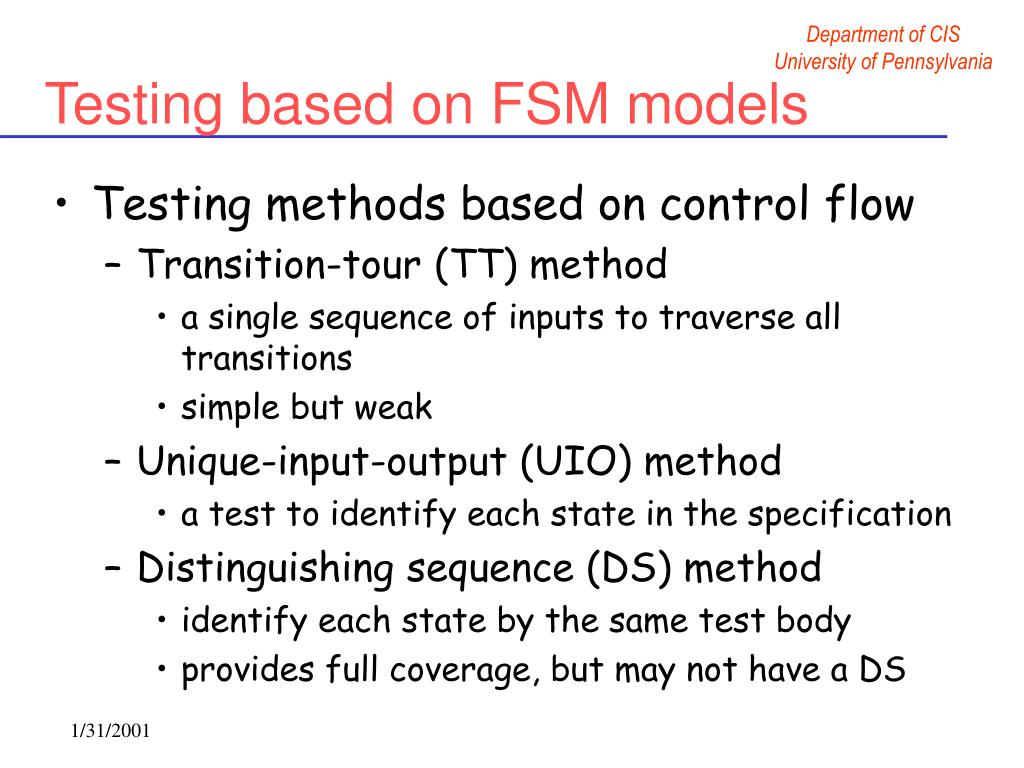 Testing based on FSM models