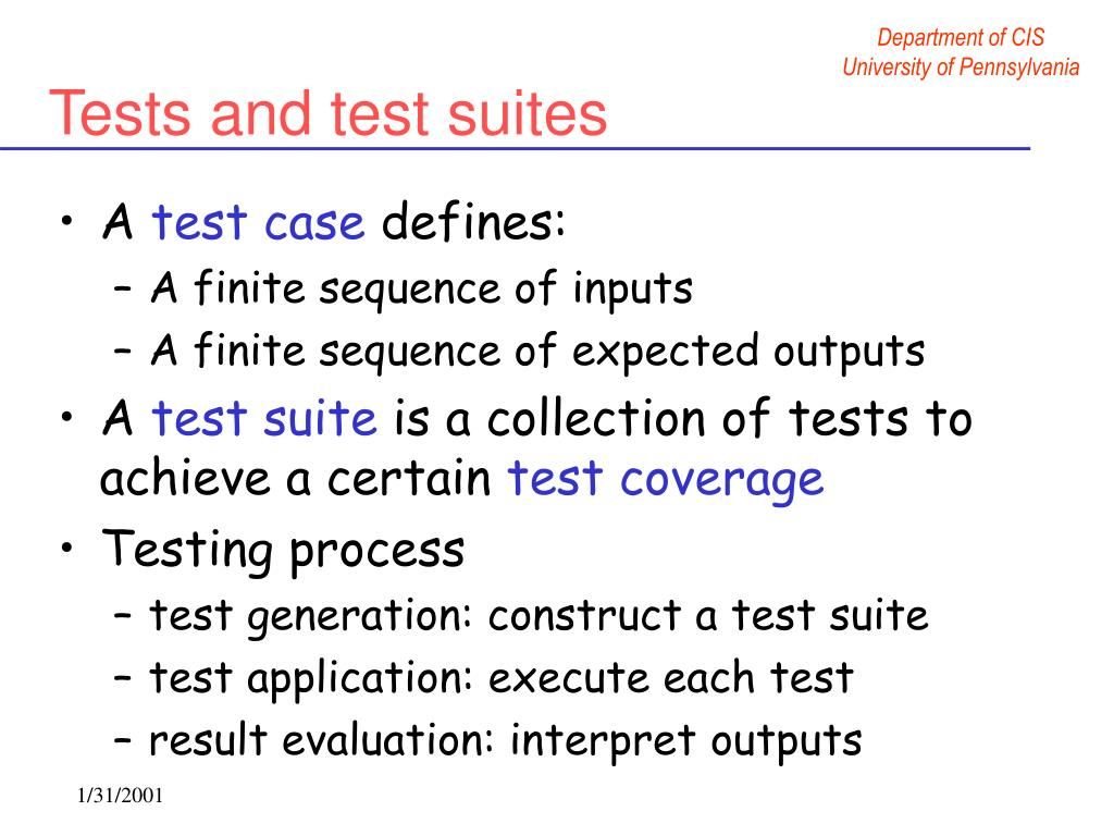 Tests and test suites