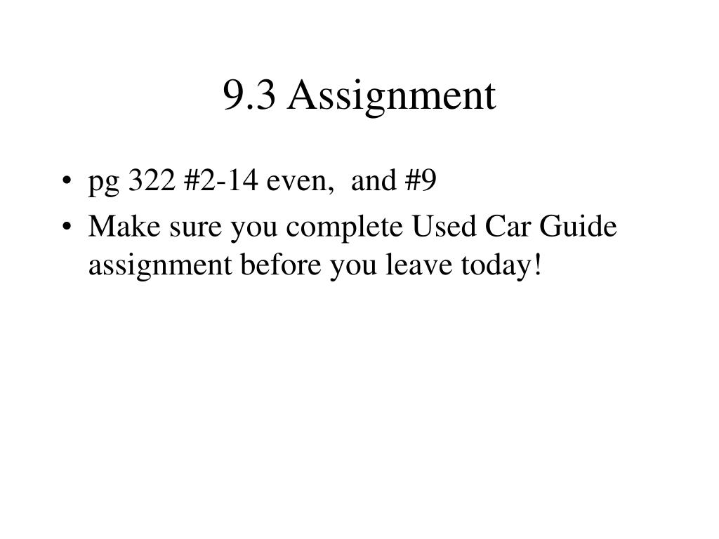 9.3 Assignment