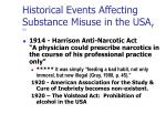 historical events affecting substance misuse in the usa 2
