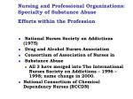 nursing and professional organizations specialty of substance abuse efforts within the profession