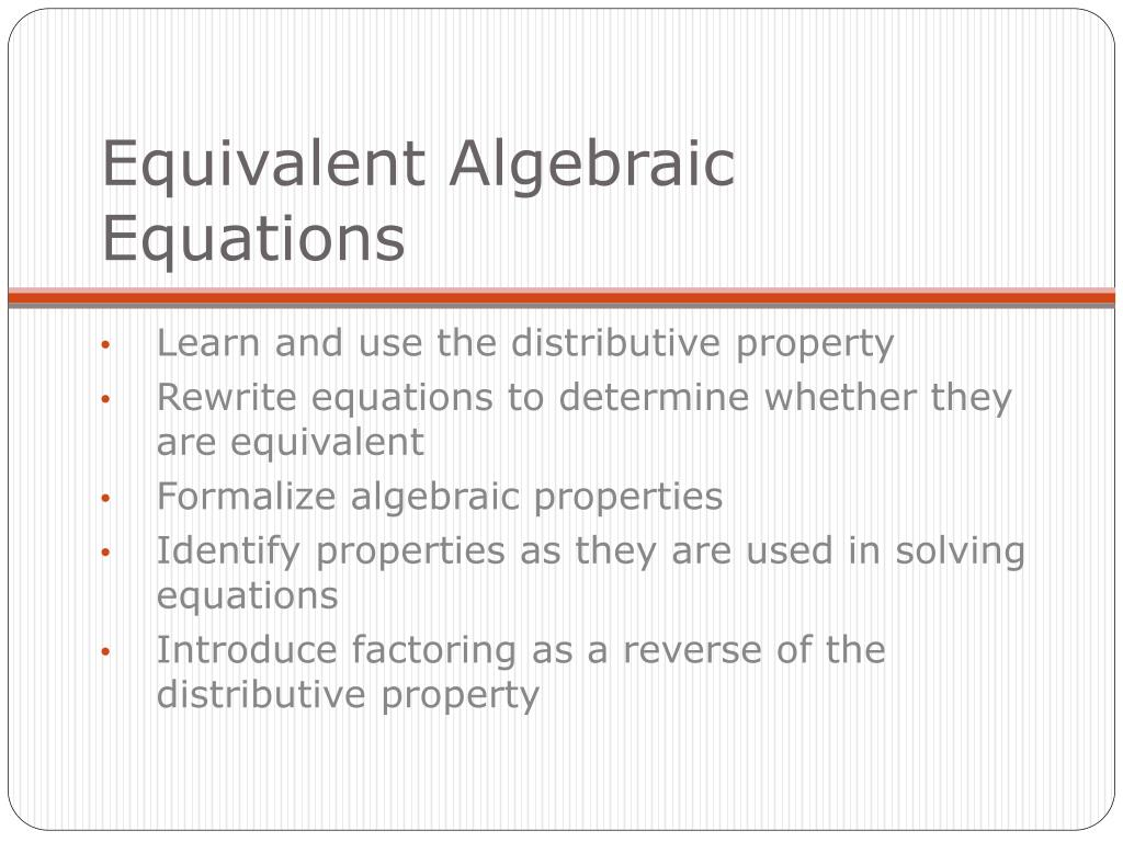 equivalent algebraic equations l.