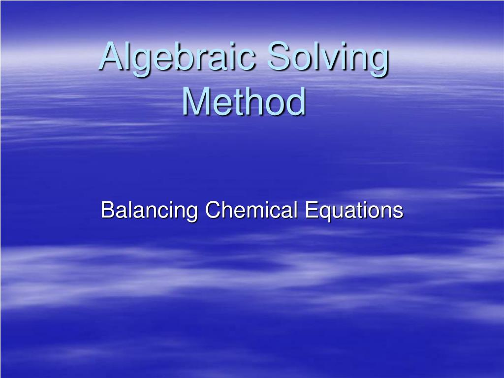 algebraic solving method l.