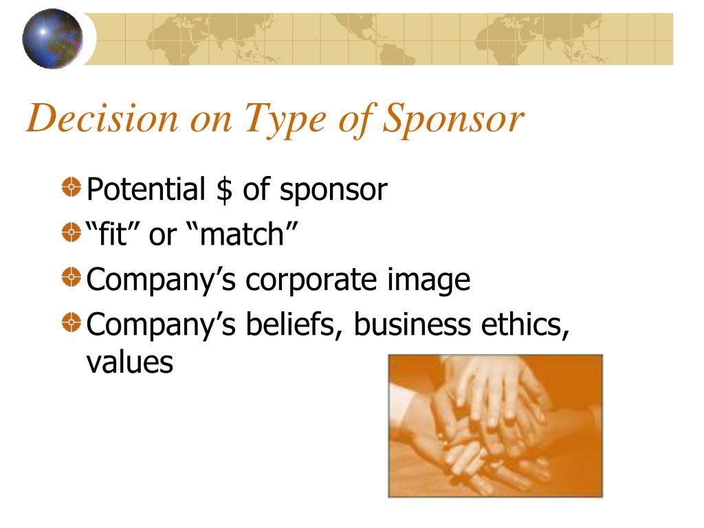 Decision on Type of Sponsor