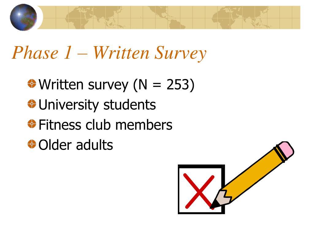 Phase 1 – Written Survey