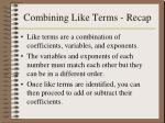 combining like terms recap