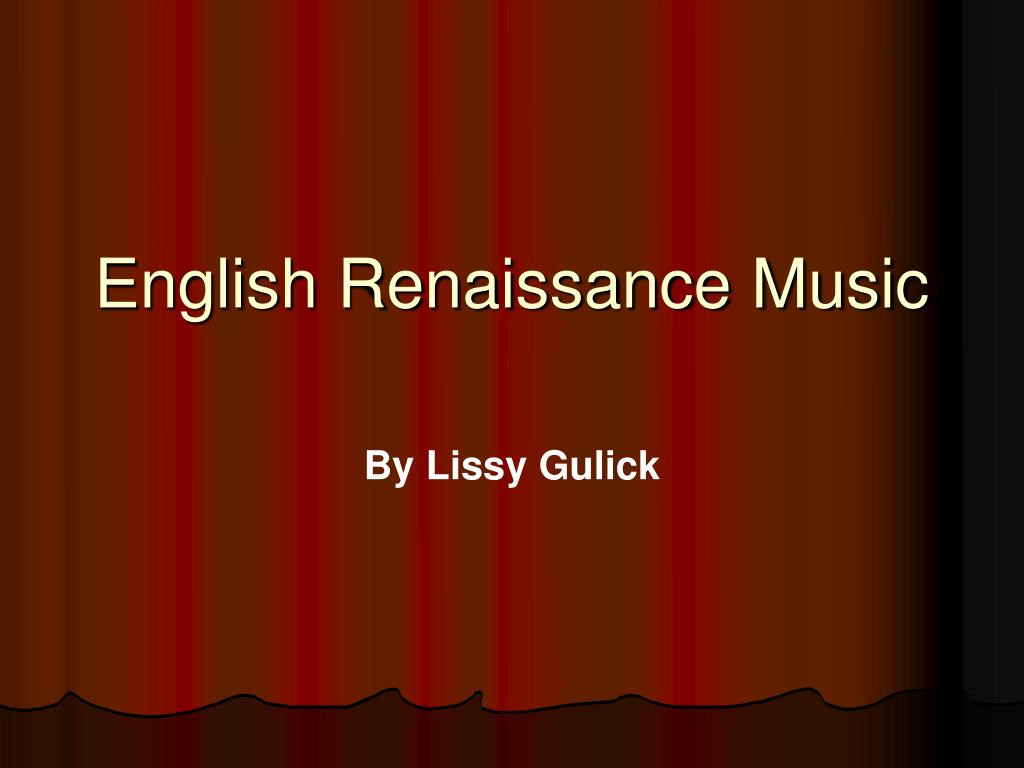 english renaissance music l.