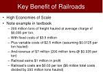 key benefit of railroads