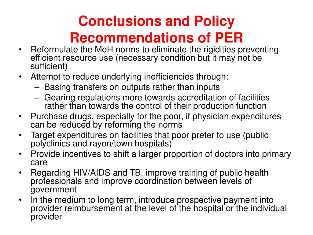 Conclusions and Policy Recommendations of PER