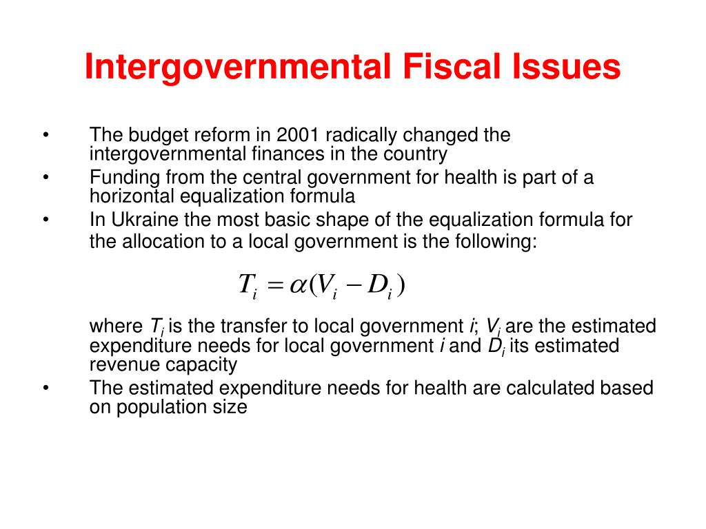 Intergovernmental Fiscal Issues