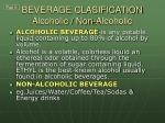 beverage clasification alcoholic non alcoholic