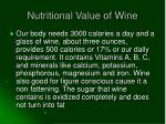 nutritional value of wine