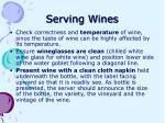 serving wines