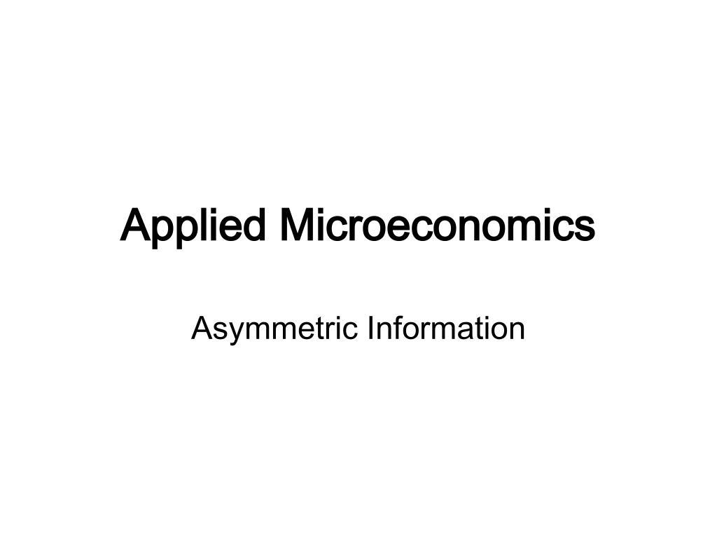 applied microeconomics l.