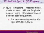 emissions from alco engines