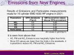 emissions from new engines