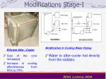 modifications stage i