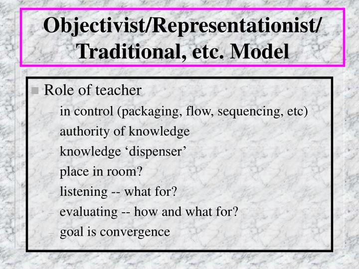Objectivist representationist traditional etc model