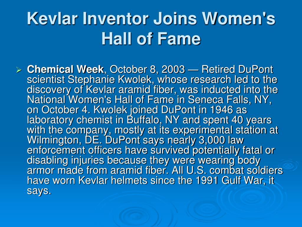 Kevlar Inventor Joins Women's Hall of Fame