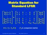 matrix equation for standard lfsr