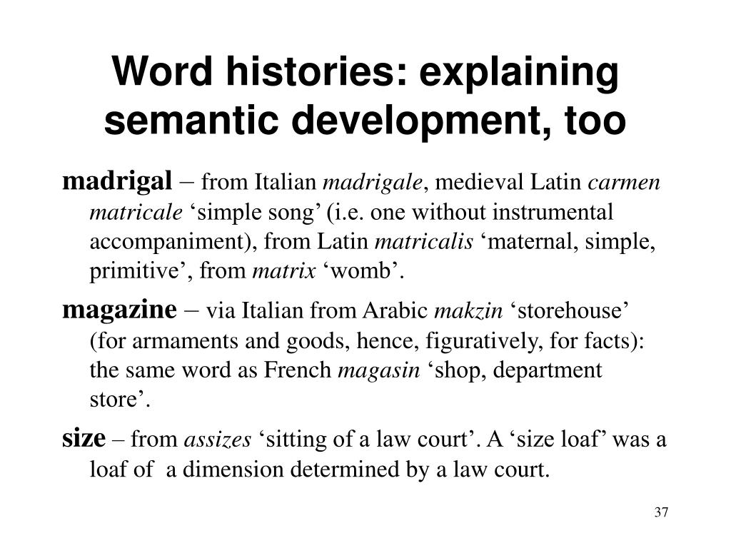 Word histories: explaining semantic development, too