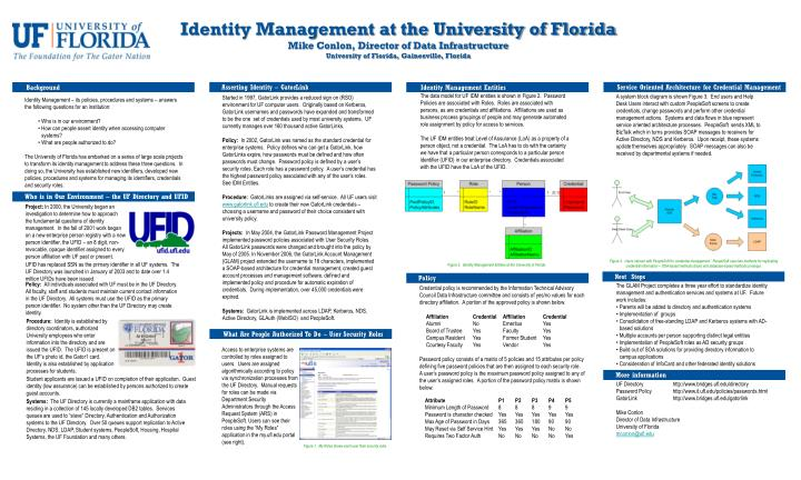 The data model for UF IDM entities is shown in Figure 2.  Password Policies are associated with Role...