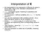 interpretation of e