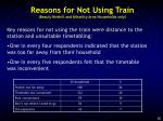 reasons for not using train beauly kirkhill and kiltarlity area households only