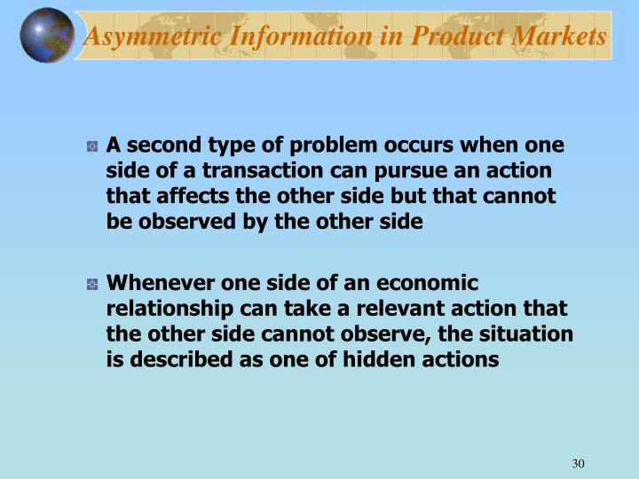 Asymmetric Information in Product Markets