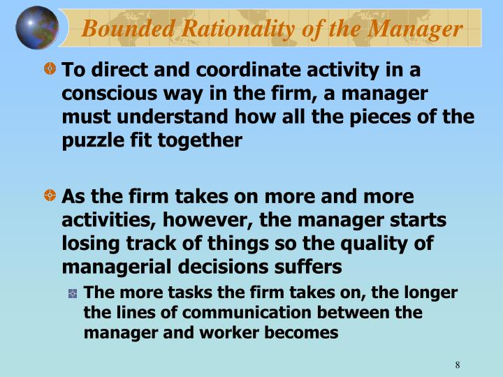 Bounded Rationality of the Manager