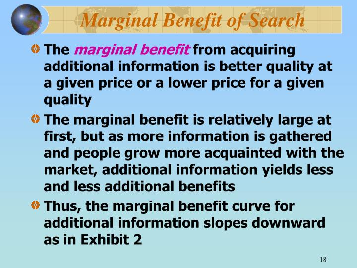 Marginal Benefit of Search