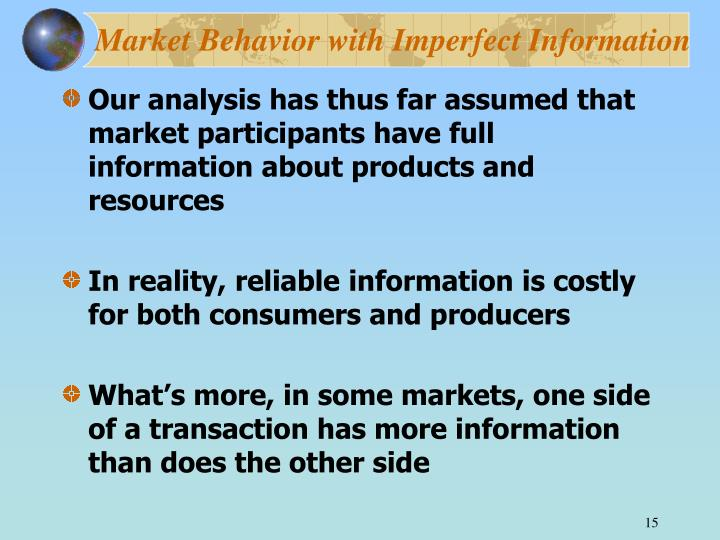 Market Behavior with Imperfect Information