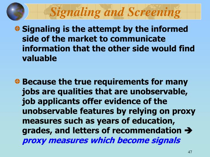 Signaling and Screening