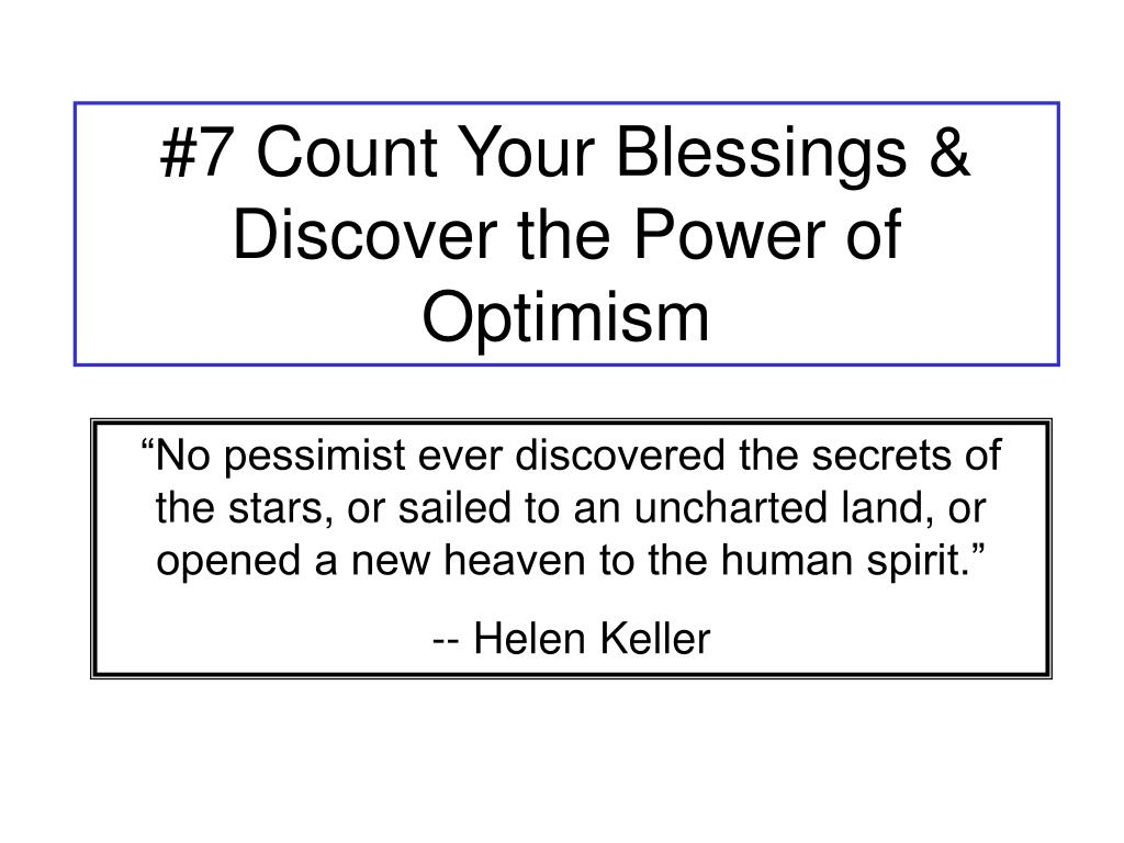 #7 Count Your Blessings & Discover the Power of Optimism