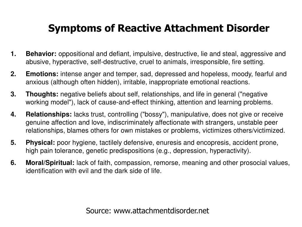 Symptoms of Reactive Attachment Disorder