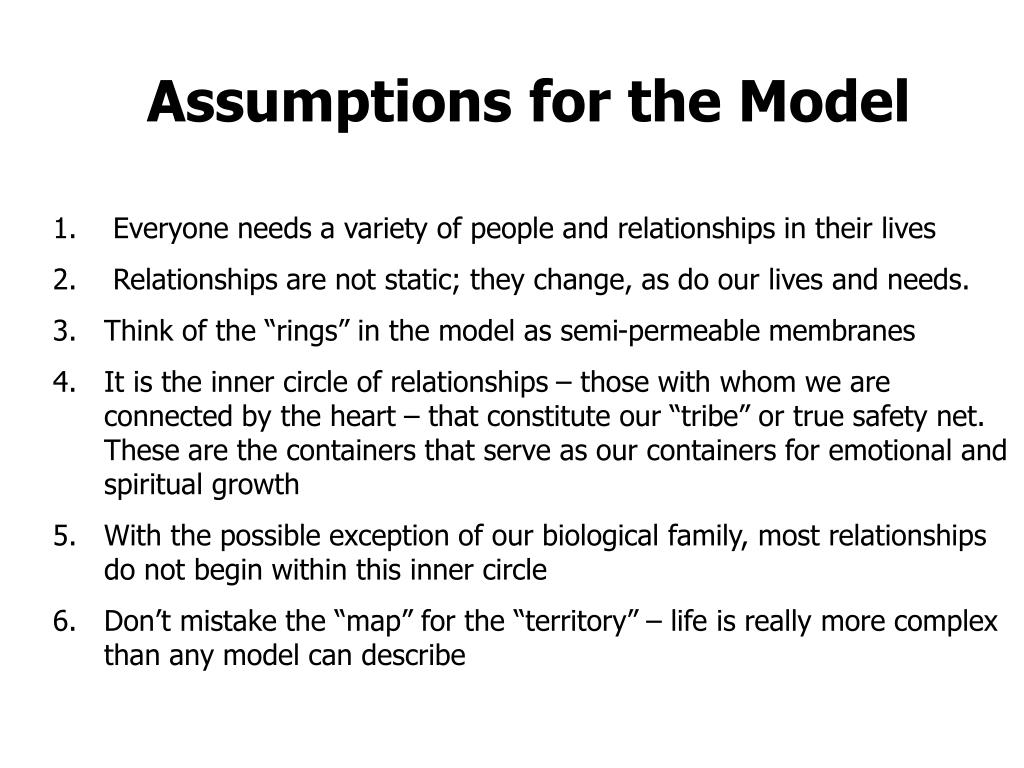 Assumptions for the Model