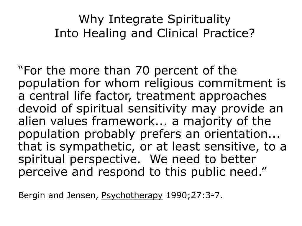 Why Integrate Spirituality