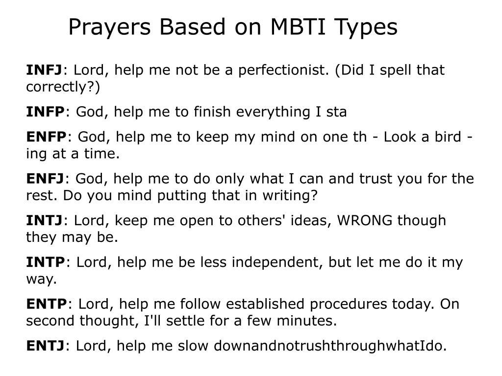 Prayers Based on MBTI Types