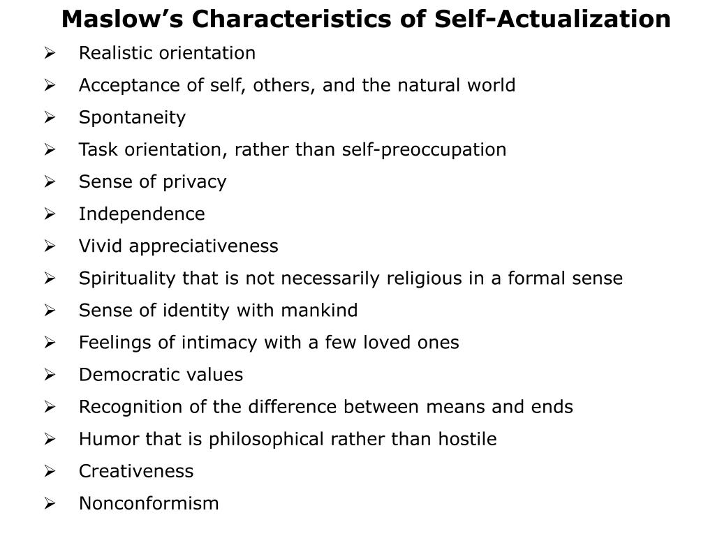 Maslow's Characteristics of Self-Actualization