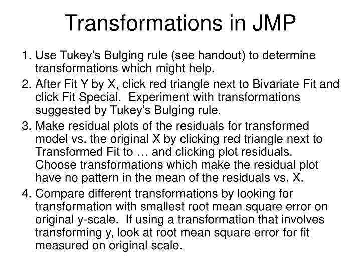 Transformations in JMP