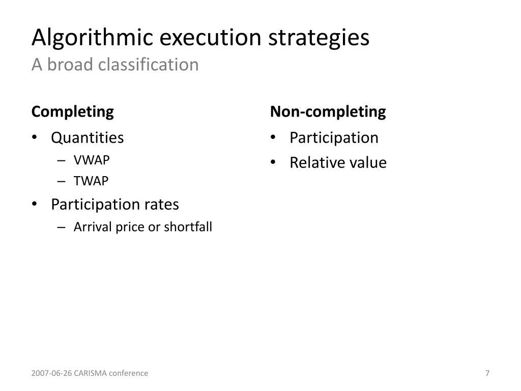 Algorithmic execution strategies