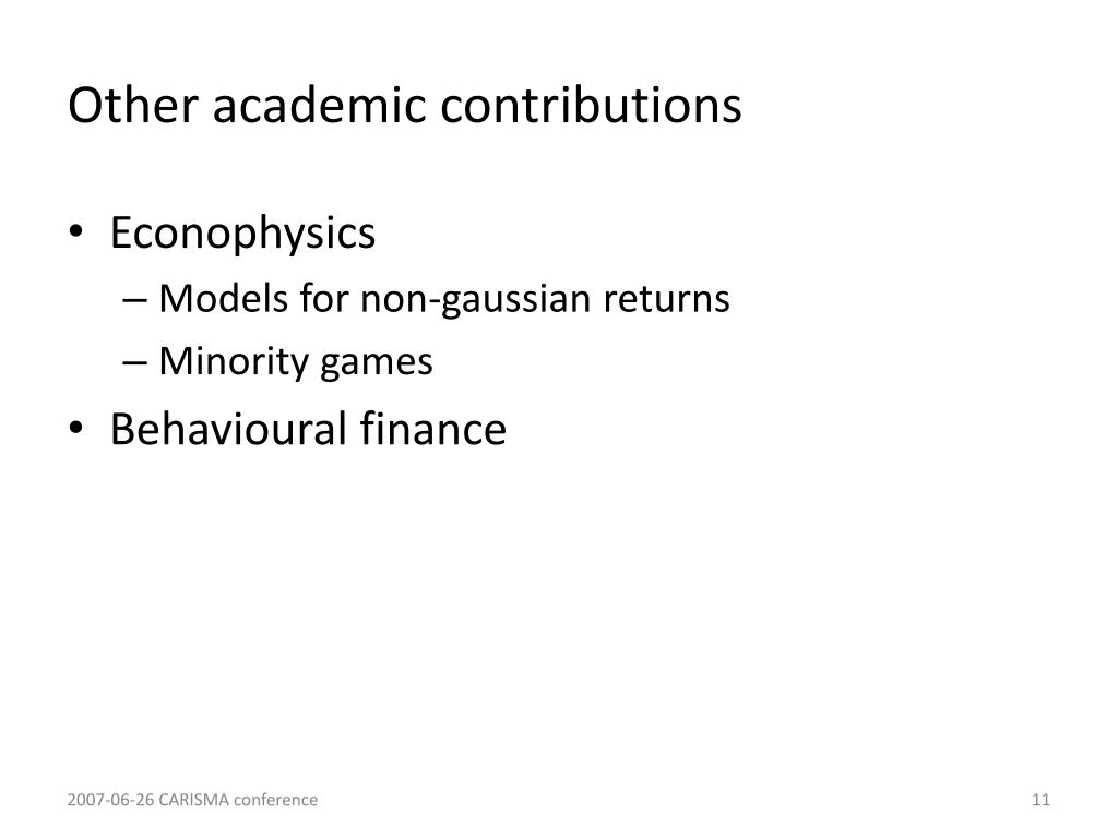 Other academic contributions