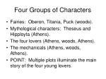 four groups of characters