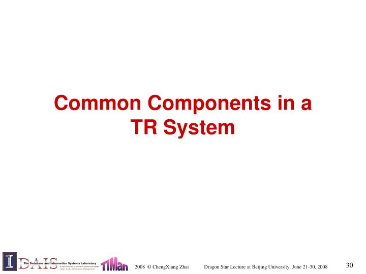 Common Components in a